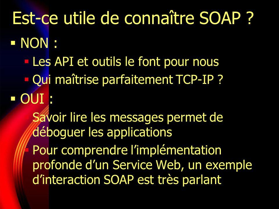 Messages SOAP Transmission unidirectionnelle (émetteur vers récepteur) Notion de routage : un message passe éventuellement par des récepteurs intermédiaires qui peuvent modifier son contenu Format prévoit des messages dédiés à la gestion des erreurs