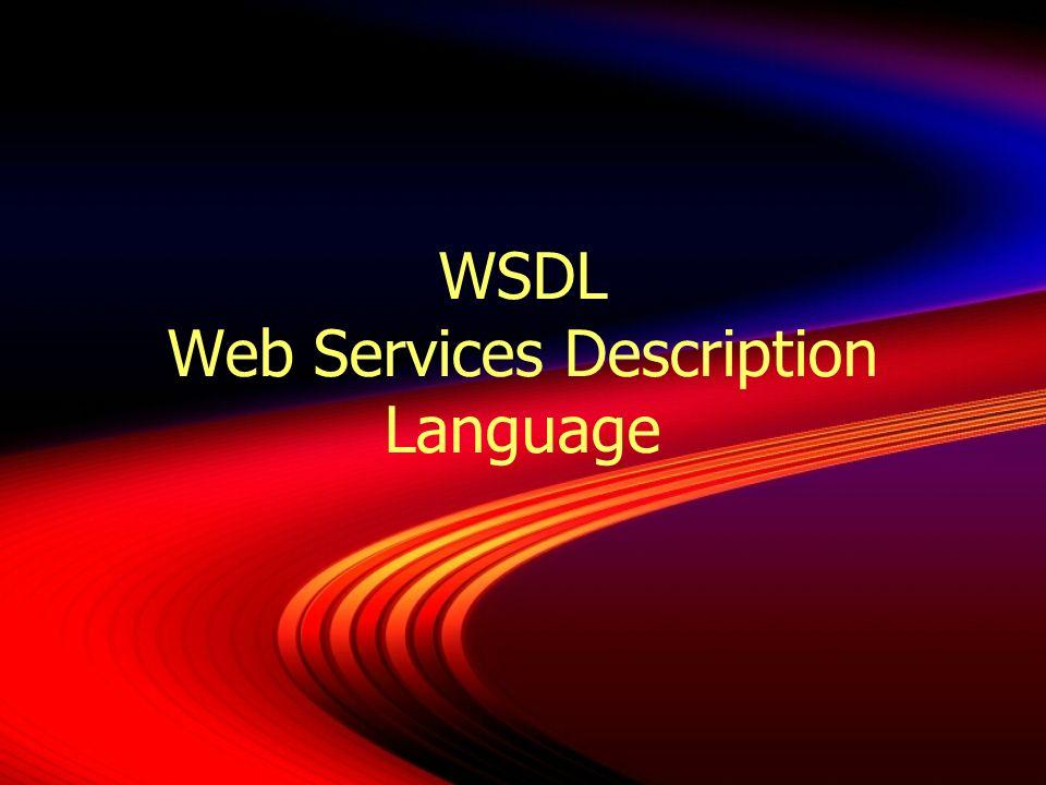 WSDL Standard du W3C (origine Ariba, IBM, Microsoft) Langage XML permettant de décrire les services Ensemble dopérations et de messages abstraits reliés (bind) à des protocoles et des serveurs réseaux Rôle semblable à lInterface Definition Language (IDL) de CORBA Description du service indépendante du langage et de la plate-forme de production