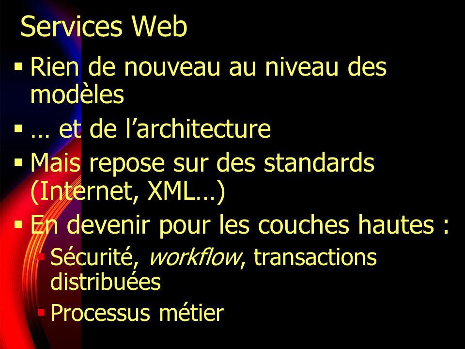 Caractéristiques des Services Web Accessibles via le Web Exportent une interface publiée en XML (WSDL) Localisables via un annuaire (UDDI…) Échangent des messages XML sur les protocoles classiques du Web Dynamiques : Liens tardifs, répartition dynamique de la charge…
