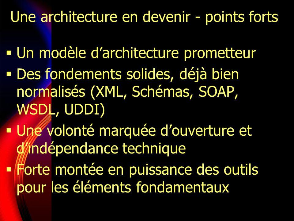 Une architecture en devenir - points faibles De nombreux éléments manquent pour généraliser le déploiement des WS Guerre des standards - BPM, sécurité… Encore trop peu doutils pour la partie BPM Un problème de taille : intégration des applications existantes (core business) La complexité de lensemble pénalise son adoption