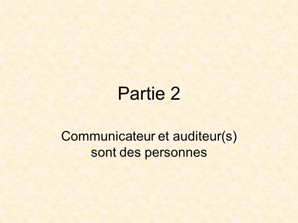 Partie 2 Communicateur et auditeur(s) sont des personnes