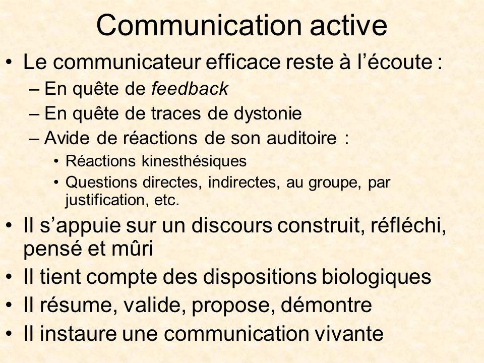 Communication active Le communicateur efficace reste à lécoute : –En quête de feedback –En quête de traces de dystonie –Avide de réactions de son auditoire : Réactions kinesthésiques Questions directes, indirectes, au groupe, par justification, etc.