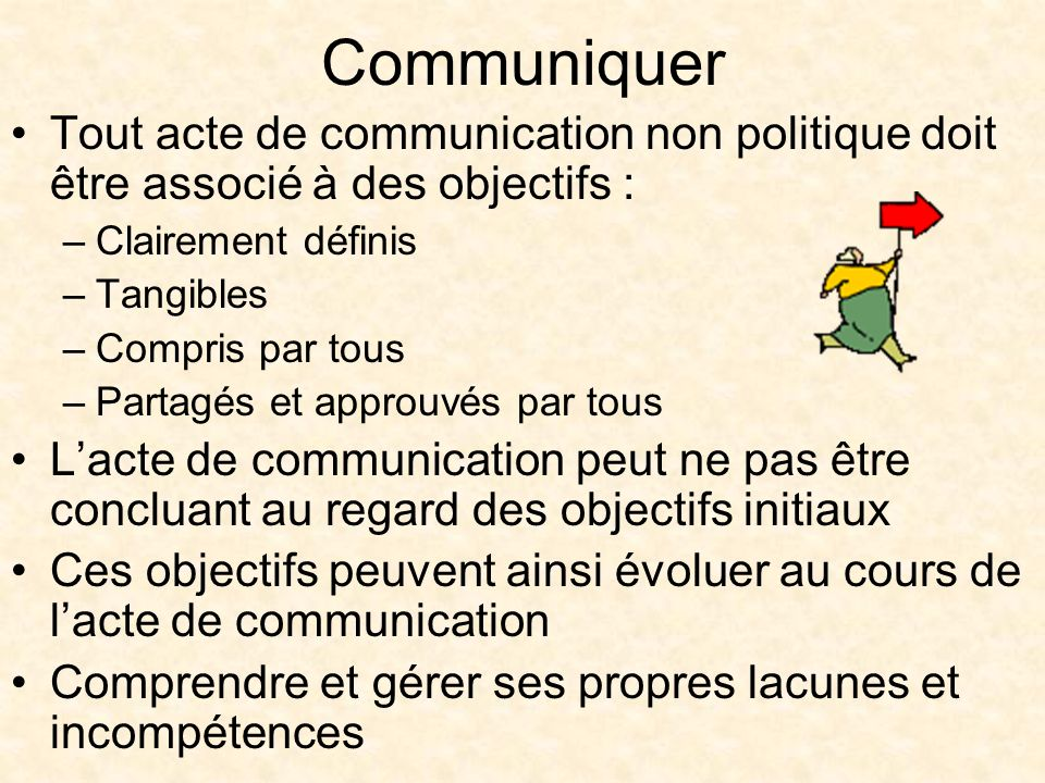 Tout acte de communication non politique doit être associé à des objectifs : –Clairement définis –Tangibles –Compris par tous –Partagés et approuvés par tous Lacte de communication peut ne pas être concluant au regard des objectifs initiaux Ces objectifs peuvent ainsi évoluer au cours de lacte de communication Comprendre et gérer ses propres lacunes et incompétences