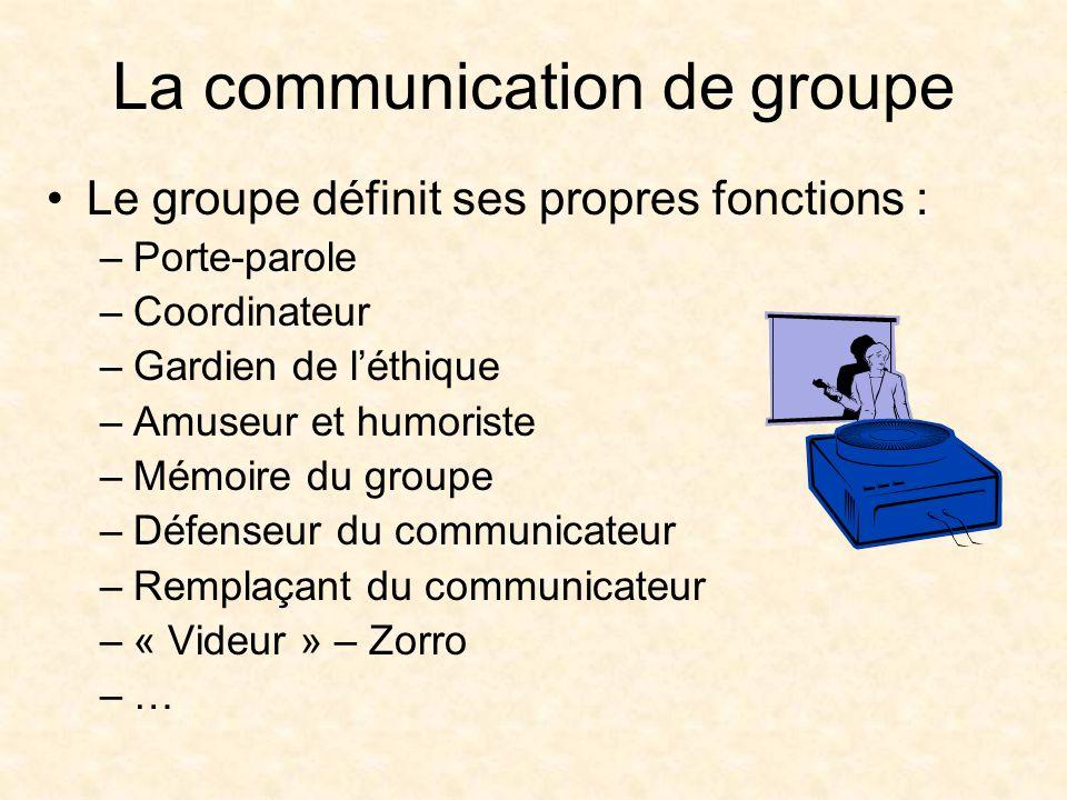 La communication de groupe Le groupe définit ses propres fonctions : –Porte-parole –Coordinateur –Gardien de léthique –Amuseur et humoriste –Mémoire du groupe –Défenseur du communicateur –Remplaçant du communicateur –« Videur » – Zorro –…