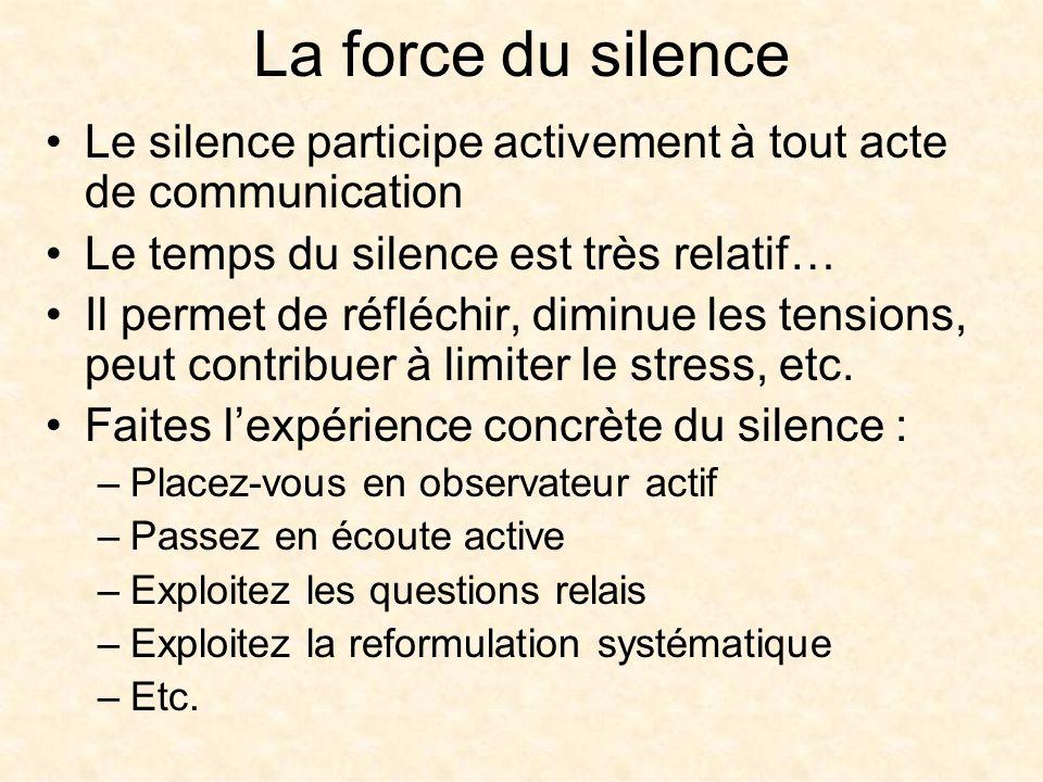 La force du silence Le silence participe activement à tout acte de communication Le temps du silence est très relatif… Il permet de réfléchir, diminue les tensions, peut contribuer à limiter le stress, etc.