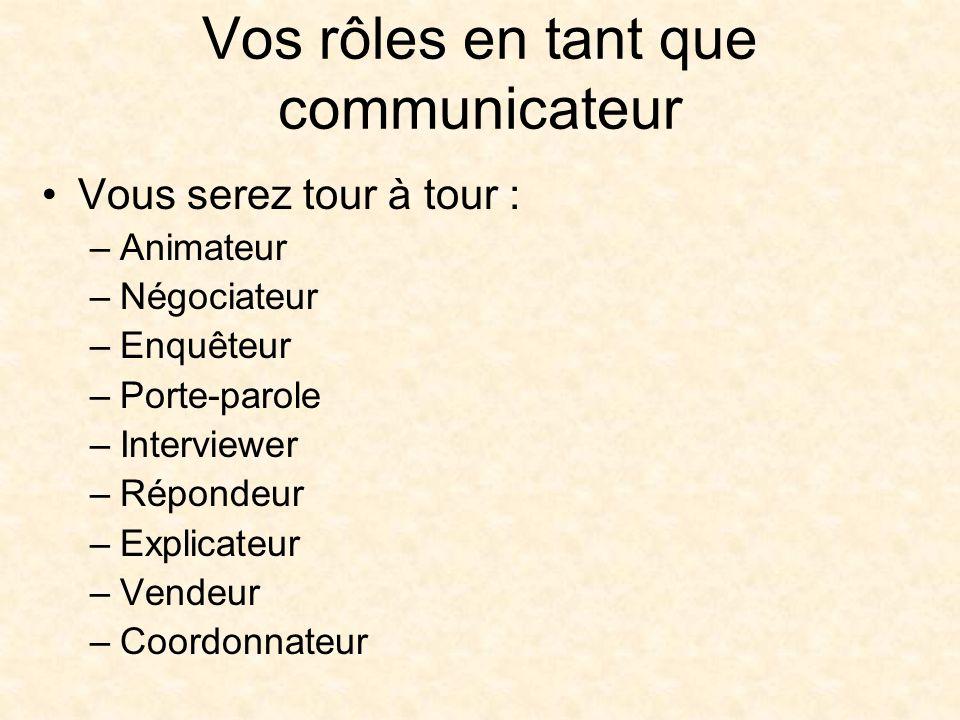 Vos rôles en tant que communicateur Vous serez tour à tour : –Animateur –Négociateur –Enquêteur –Porte-parole –Interviewer –Répondeur –Explicateur –Vendeur –Coordonnateur