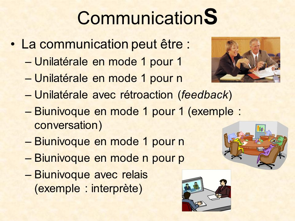 Communication S La communication peut être : –Unilatérale en mode 1 pour 1 –Unilatérale en mode 1 pour n –Unilatérale avec rétroaction (feedback) –Biunivoque en mode 1 pour 1 (exemple : conversation) –Biunivoque en mode 1 pour n –Biunivoque en mode n pour p –Biunivoque avec relais (exemple : interprète)