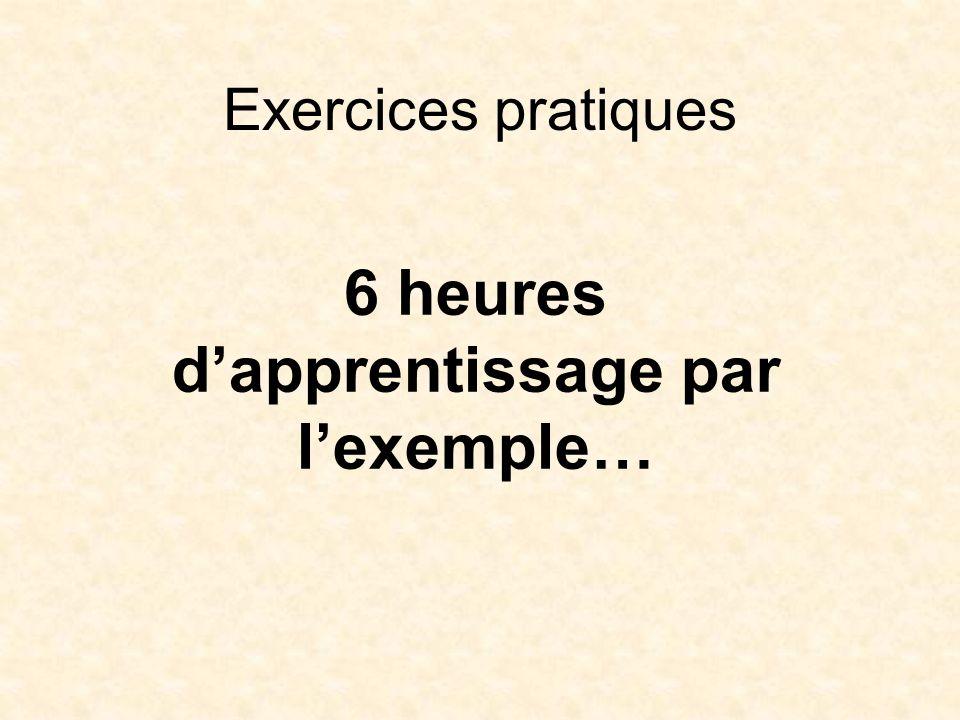Exercices pratiques 6 heures dapprentissage par lexemple…