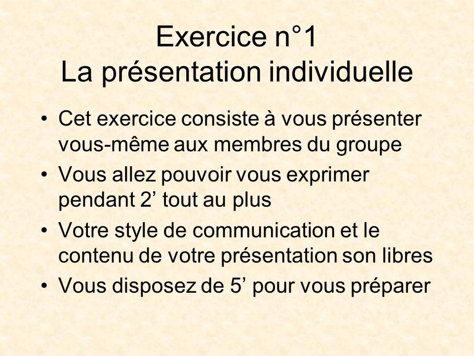 Exercice n°1 La présentation individuelle Cet exercice consiste à vous présenter vous-même aux membres du groupe Vous allez pouvoir vous exprimer pendant 2 tout au plus Votre style de communication et le contenu de votre présentation son libres Vous disposez de 5 pour vous préparer