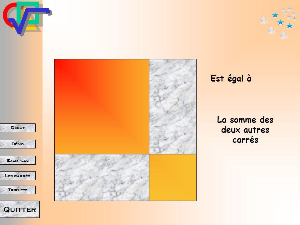 Début Démo Triplets Exemples Les carrés Quitter Le carré de lhypoténuse