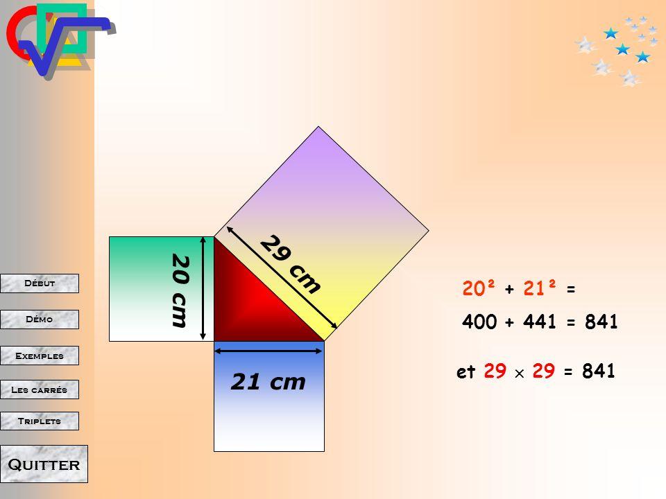 Début Démo Triplets Exemples Les carrés Quitter Dautres exemples dutilisation de la propriété de Pythagore