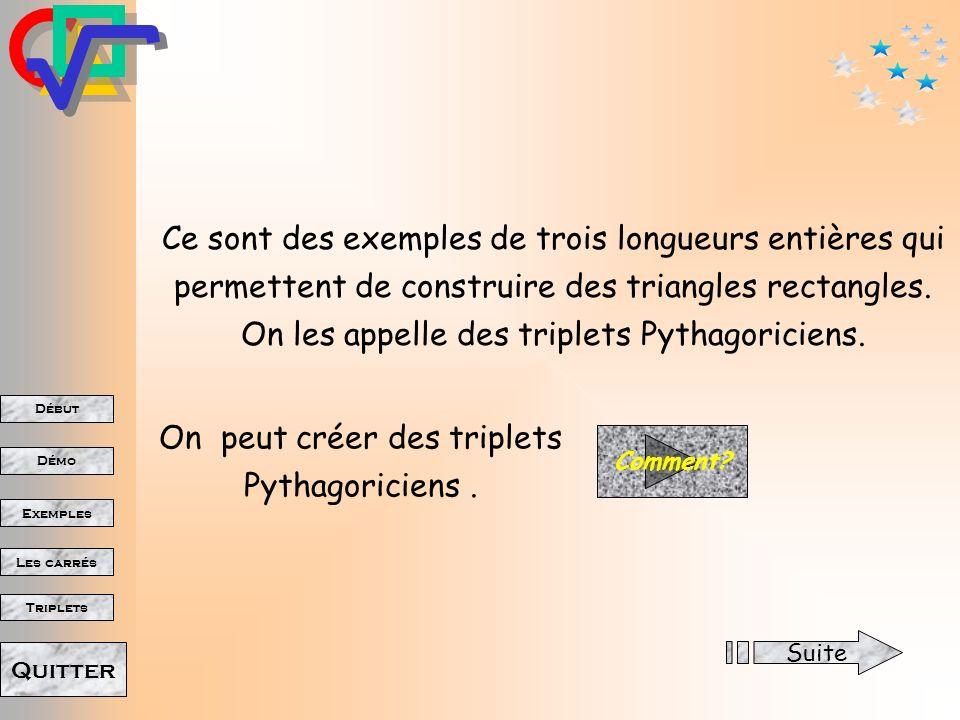 Début Démo Triplets Exemples Les carrés Quitter 24 cm 25 cm 7 cm 25² 24² = 625 576 = 49 et 7 7 = 49