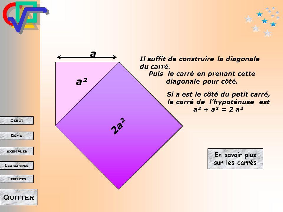 Début Démo Triplets Exemples Les carrés Quitter Comment obtenir un carré deux fois plus grand? 1 a2a 2 34 laire du carré est, non pas deux fois, mais