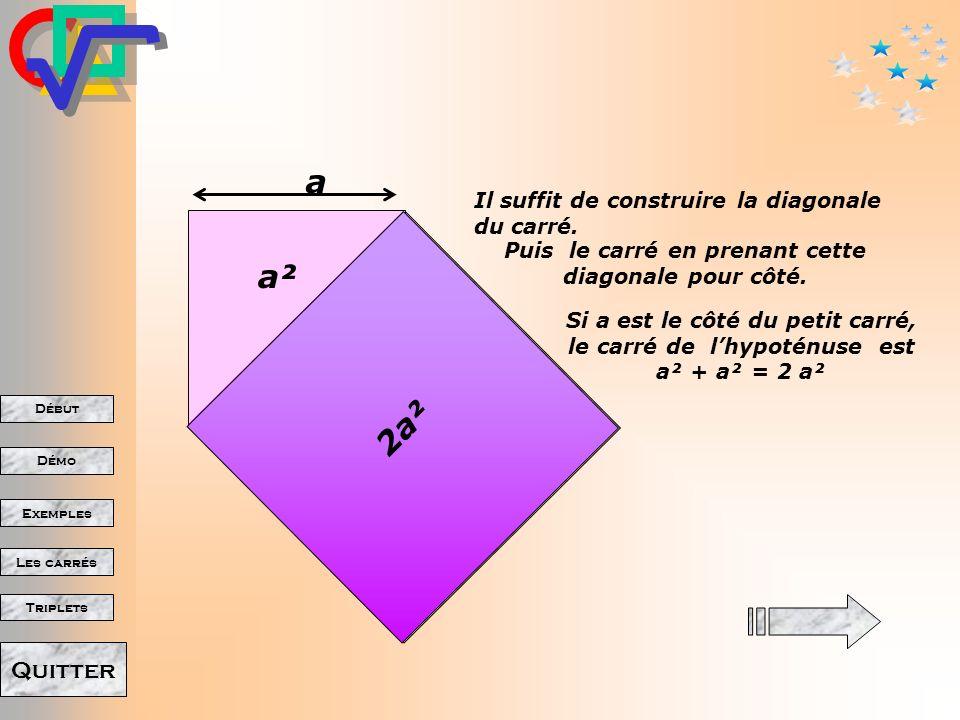 Début Démo Triplets Exemples Les carrés Quitter Il suffit de construire la diagonale du carré. Puis le carré en prenant cette diagonale pour côté. a S