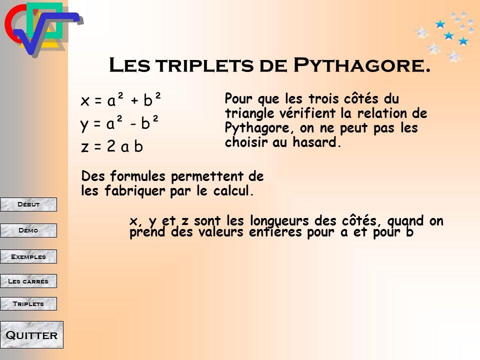Début Démo Triplets Exemples Les carrés Quitter Clique là bas