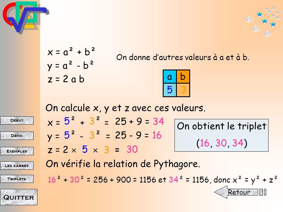 Début Démo Triplets Exemples Les carrés Quitter On calcule x, y et z avec ces valeurs.