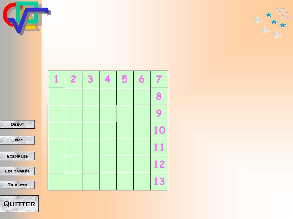 Début Démo Triplets Exemples Les carrés Quitter A propos des carrés 1234567891011121314 1 2 3 4 5 6 7 8 9 10 11 12 13 14 1 4 9 16 25 36 49 64 81 100 121 144 169 196 nn² + 3 + 5 + 7 + 9 + 11 + 13 + 15 + 17 + 19 + 21 + 23 + 25 + 27 Que se passe-t-il quand le côté augmente.