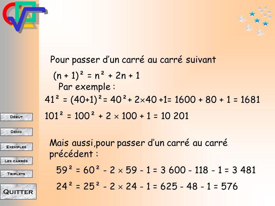 Début Démo Triplets Exemples Les carrés Quitter Pour passer dun carré au carré suivant 1234567 8 9 10 11 12 13 Il faut rajouter deux fois le côté précédent et encore 1 123456 1 123456 (n + 1)² = n² + 2n + 1