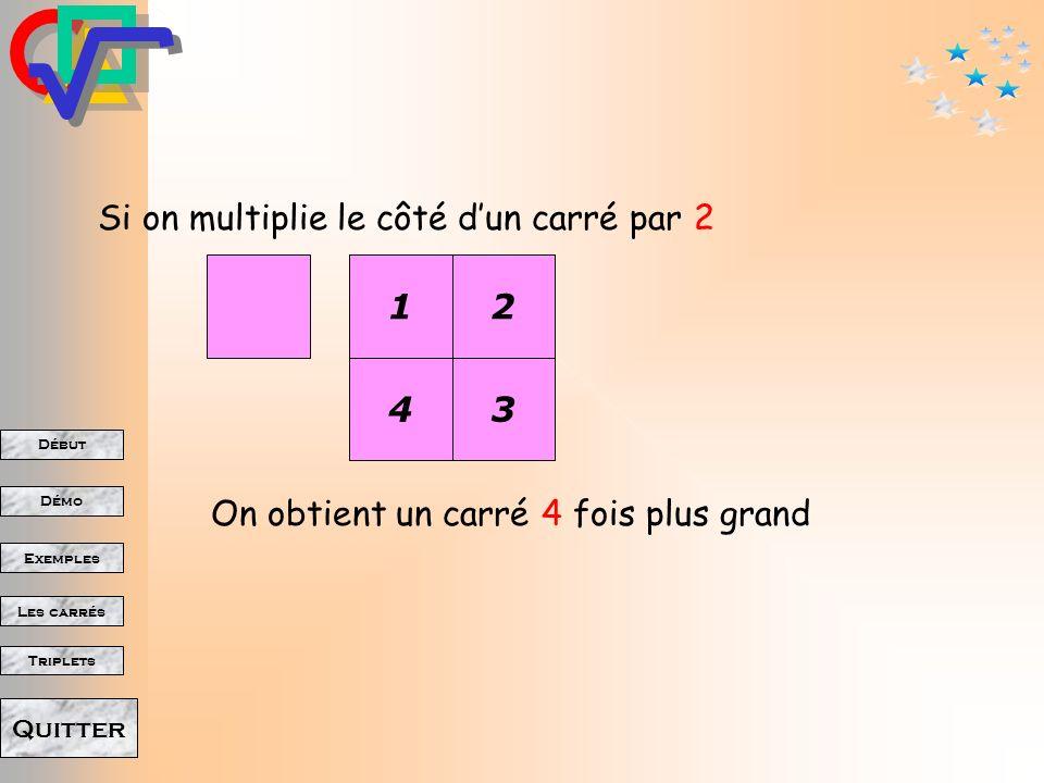 Début Démo Triplets Exemples Les carrés Quitter Pour passer dun carré au carré suivant (n + 1)² = n² + 2n + 1 Par exemple : 41² = (40+1)²= 40²+ 2 40 +1= 1600 + 80 + 1 = 1681 101² = 100² + 2 100 + 1 = 10 201 59² = 60² - 2 59 - 1 = 3 600 - 118 - 1 = 3 481 24² = 25² - 2 24 - 1 = 625 - 48 - 1 = 576 Mais aussi,pour passer dun carré au carré précédent :