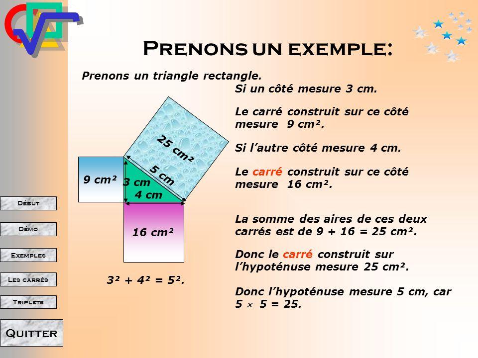 Début Démo Triplets Exemples Les carrés Quitter Théorème de Pythagore La place occupée par le grand carré (son aire) est la même que celle des deux plus petits carrés assemblés.