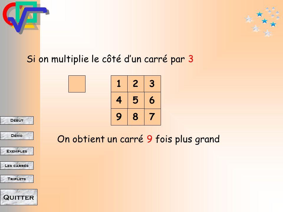 Début Démo Triplets Exemples Les carrés Quitter Si on multiplie le côté dun carré par 2 12 34 On obtient un carré 4 fois plus grand