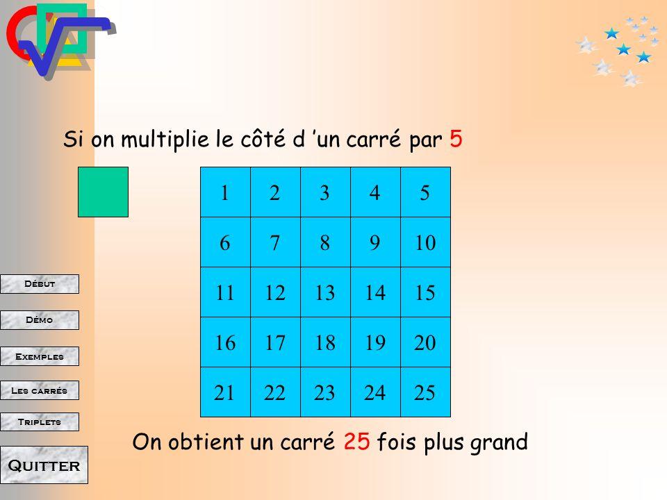 Début Démo Triplets Exemples Les carrés Quitter 7 Si on multiplie le côté dun carré par 3 On obtient un carré 9 fois plus grand 123 654 98