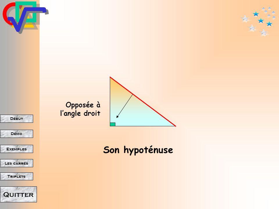 Début Démo Triplets Exemples Les carrés Quitter Il était une fois, Un triangle rectangle.