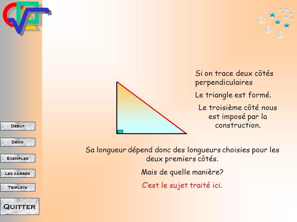 Début Démo Triplets Exemples Les carrés Quitter Son hypoténuse Opposée à langle droit