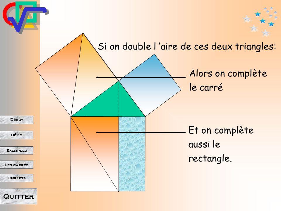 Début Démo Triplets Exemples Les carrés Quitter Donc les deux triangles orange ont la même aire.