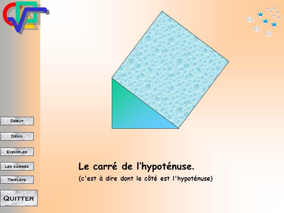 Début Démo Triplets Exemples Les carrés Quitter Si on trace deux côtés perpendiculaires Le triangle est formé. Le troisième côté nous est imposé par l