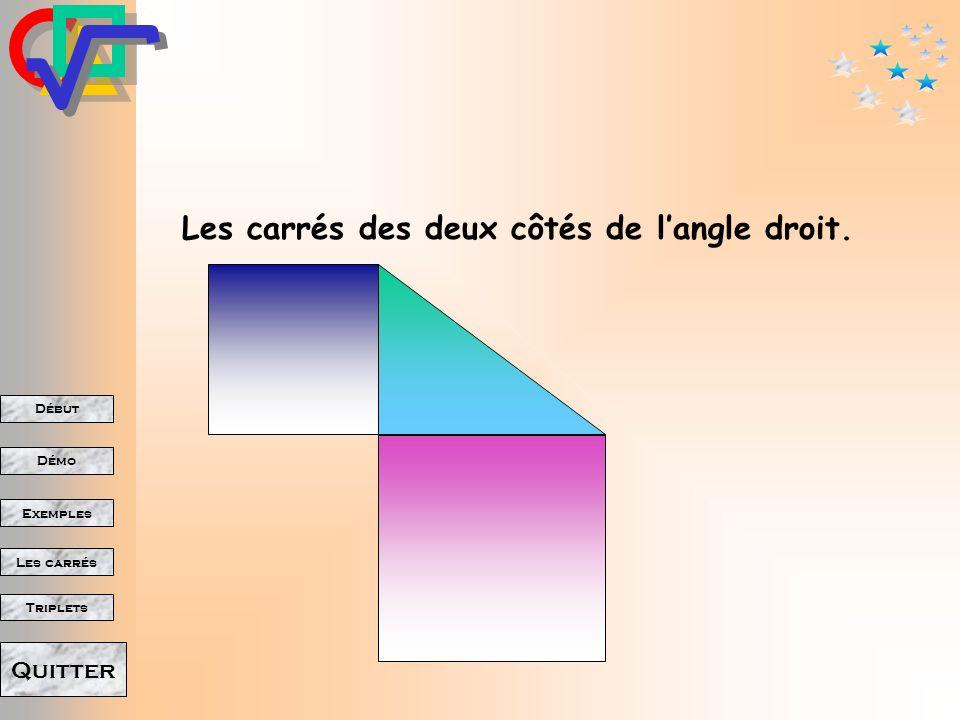 Début Démo Triplets Exemples Les carrés Quitter Le carré de lhypoténuse. (c'est à dire dont le côté est l'hypoténuse)