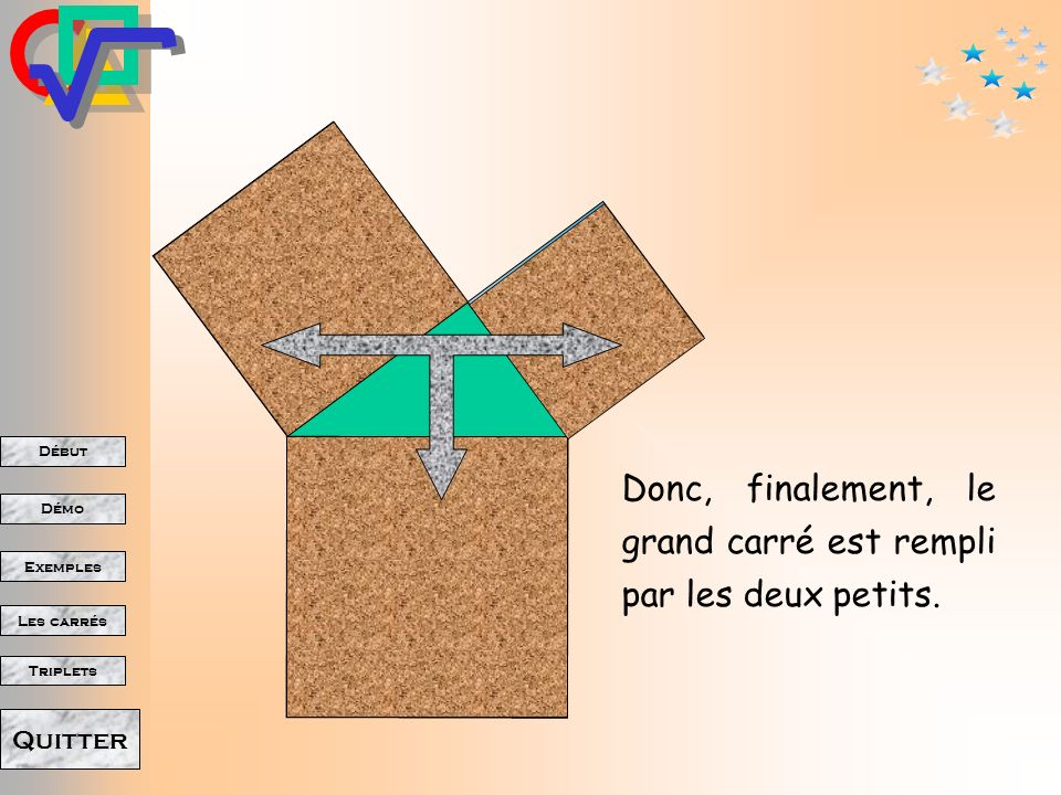 Début Démo Triplets Exemples Les carrés Quitter Laire du carré.. … laire du rectangle. est la même que …