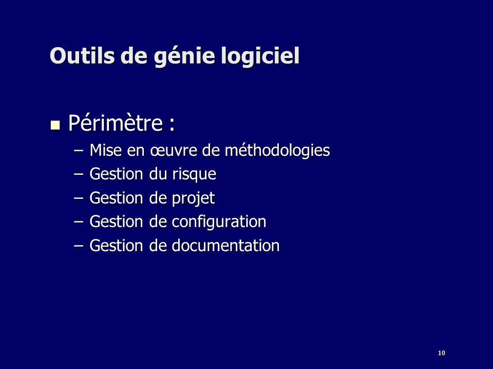 10 Outils de génie logiciel Périmètre : Périmètre : –Mise en œuvre de méthodologies –Gestion du risque –Gestion de projet –Gestion de configuration –G