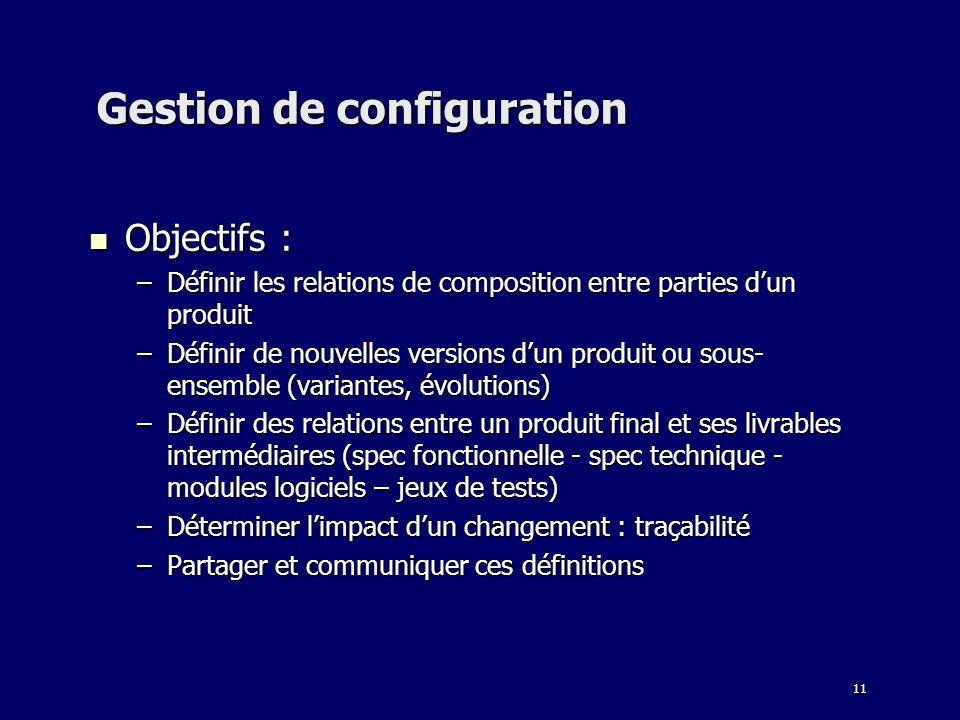 11 Gestion de configuration Objectifs : Objectifs : –Définir les relations de composition entre parties dun produit –Définir de nouvelles versions dun