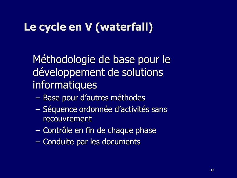 17 Le cycle en V (waterfall) Méthodologie de base pour le développement de solutions informatiques –Base pour dautres méthodes –Séquence ordonnée dactivités sans recouvrement –Contrôle en fin de chaque phase –Conduite par les documents