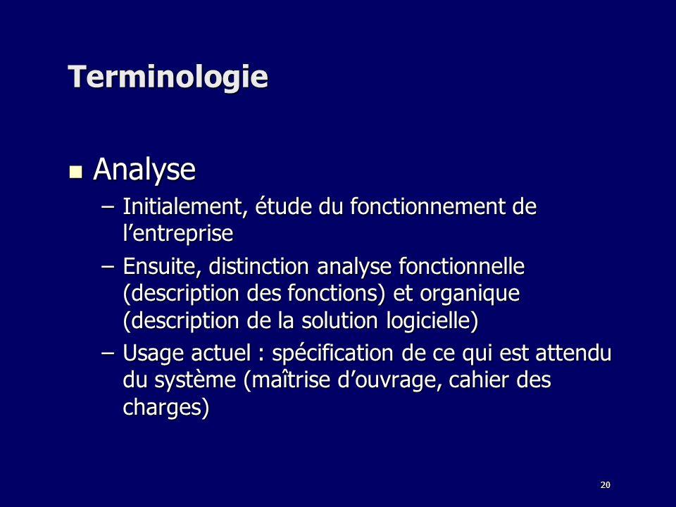 20 Terminologie Analyse Analyse –Initialement, étude du fonctionnement de lentreprise –Ensuite, distinction analyse fonctionnelle (description des fon
