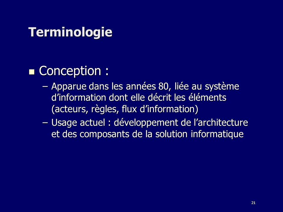 21 Terminologie Conception : Conception : –Apparue dans les années 80, liée au système dinformation dont elle décrit les éléments (acteurs, règles, flux dinformation) –Usage actuel : développement de larchitecture et des composants de la solution informatique