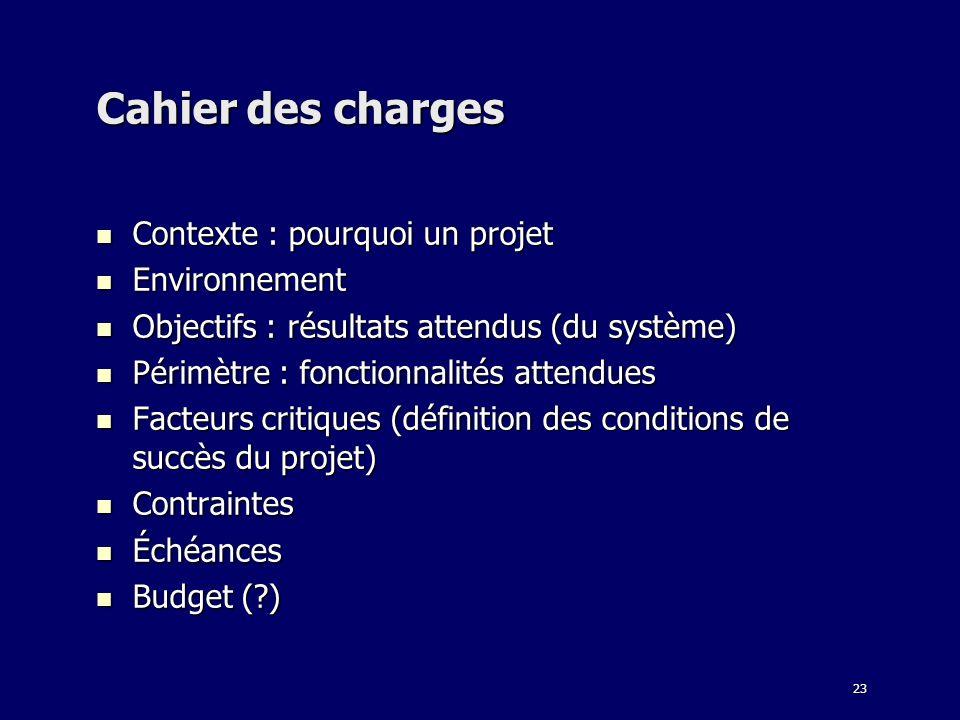 23 Cahier des charges Contexte : pourquoi un projet Contexte : pourquoi un projet Environnement Environnement Objectifs : résultats attendus (du systè