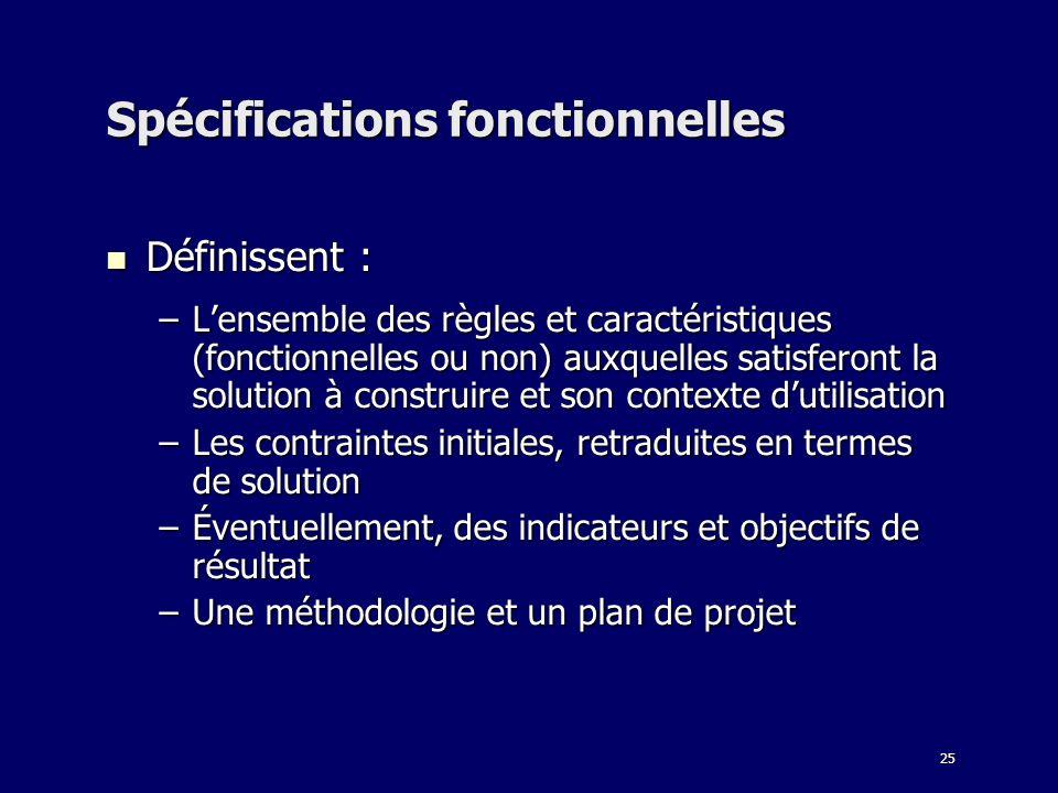 25 Spécifications fonctionnelles Définissent : Définissent : –Lensemble des règles et caractéristiques (fonctionnelles ou non) auxquelles satisferont