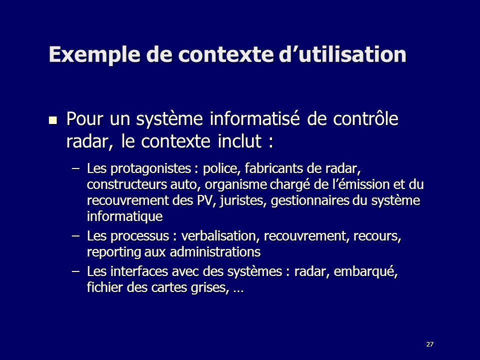 27 Exemple de contexte dutilisation Pour un système informatisé de contrôle radar, le contexte inclut : Pour un système informatisé de contrôle radar,