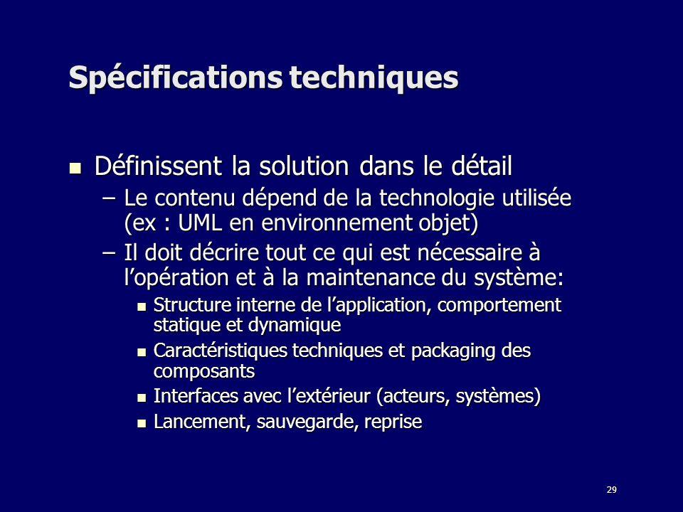 29 Spécifications techniques Définissent la solution dans le détail Définissent la solution dans le détail –Le contenu dépend de la technologie utilis