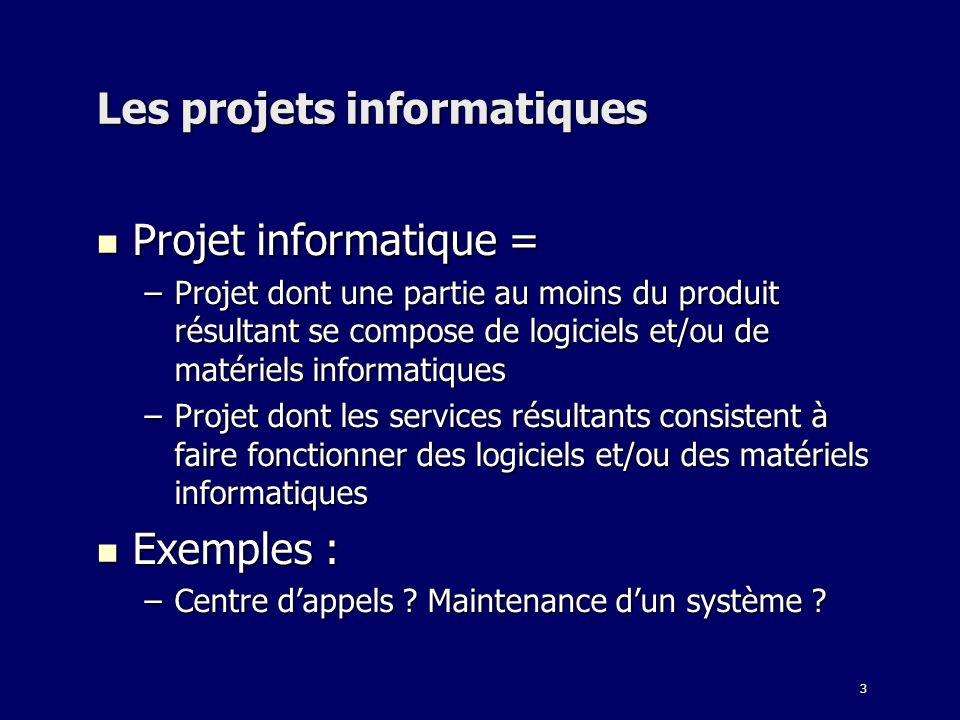 3 Les projets informatiques Projet informatique = Projet informatique = –Projet dont une partie au moins du produit résultant se compose de logiciels
