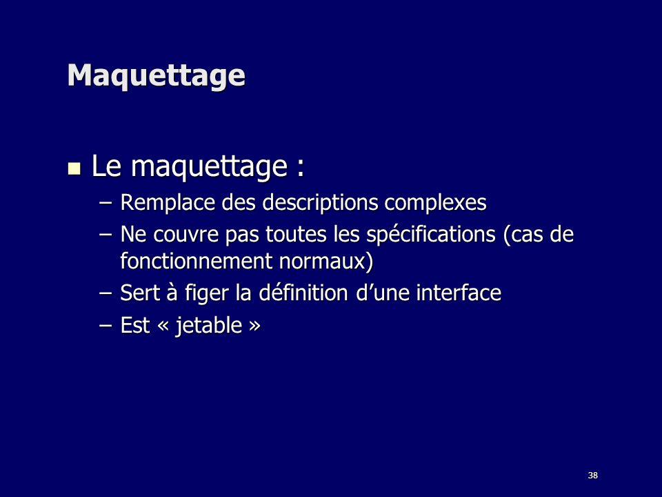 38 Maquettage Le maquettage : Le maquettage : –Remplace des descriptions complexes –Ne couvre pas toutes les spécifications (cas de fonctionnement normaux) –Sert à figer la définition dune interface –Est « jetable »