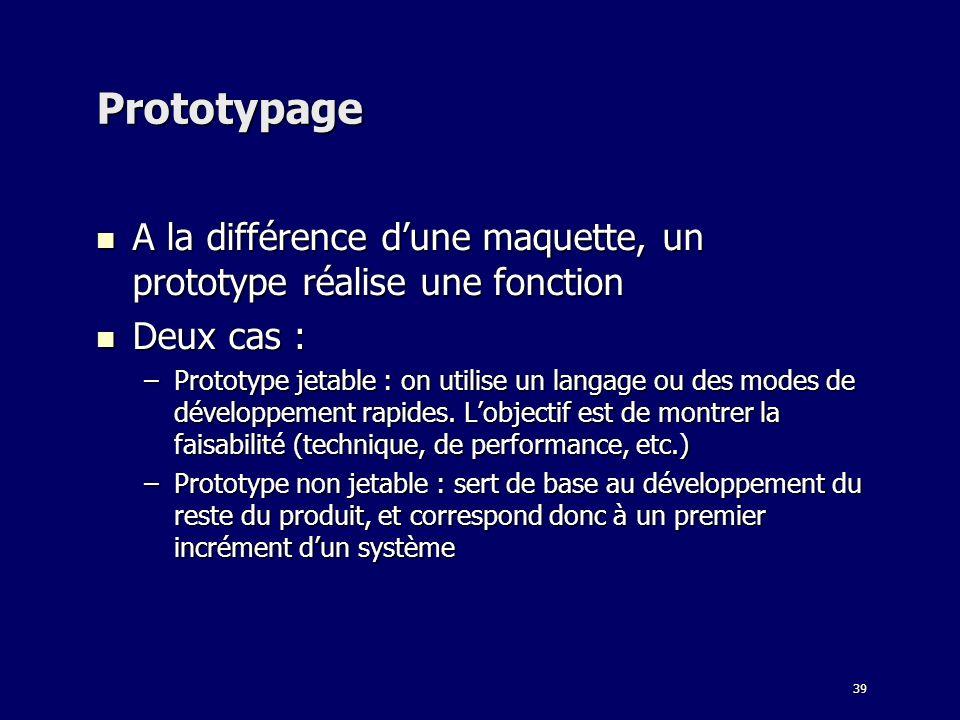 39 Prototypage A la différence dune maquette, un prototype réalise une fonction A la différence dune maquette, un prototype réalise une fonction Deux cas : Deux cas : –Prototype jetable : on utilise un langage ou des modes de développement rapides.