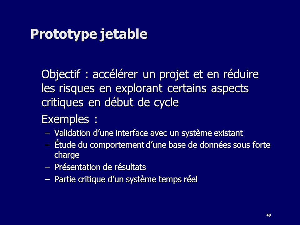 40 Prototype jetable Objectif : accélérer un projet et en réduire les risques en explorant certains aspects critiques en début de cycle Exemples : –Va