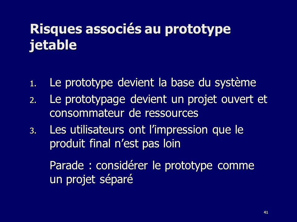 41 Risques associés au prototype jetable 1. Le prototype devient la base du système 2. Le prototypage devient un projet ouvert et consommateur de ress