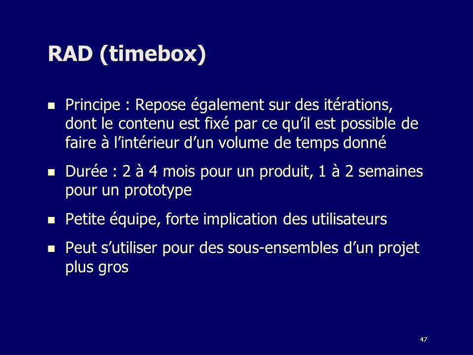 47 RAD (timebox) Principe : Repose également sur des itérations, dont le contenu est fixé par ce quil est possible de faire à lintérieur dun volume de
