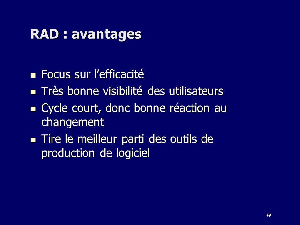 49 RAD : avantages Focus sur lefficacité Focus sur lefficacité Très bonne visibilité des utilisateurs Très bonne visibilité des utilisateurs Cycle cou