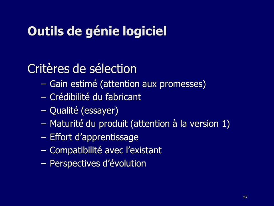 57 Outils de génie logiciel Critères de sélection –Gain estimé (attention aux promesses) –Crédibilité du fabricant –Qualité (essayer) –Maturité du pro