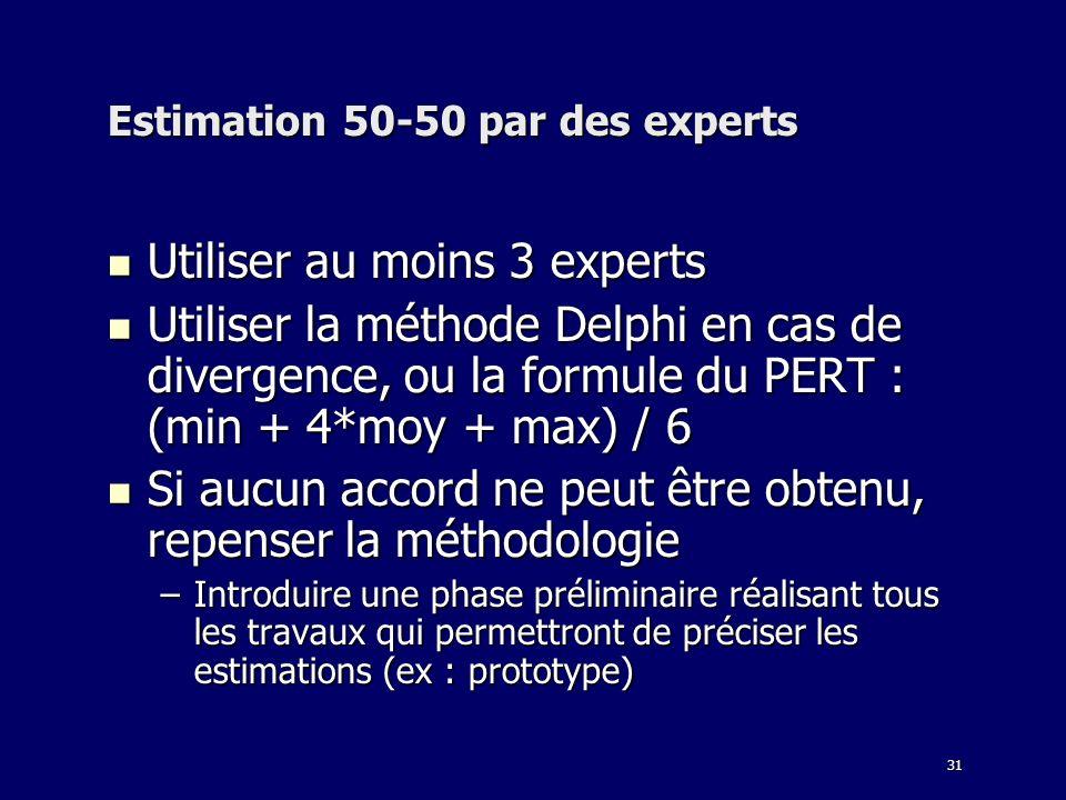 31 Estimation 50-50 par des experts Utiliser au moins 3 experts Utiliser au moins 3 experts Utiliser la méthode Delphi en cas de divergence, ou la formule du PERT : (min + 4*moy + max) / 6 Utiliser la méthode Delphi en cas de divergence, ou la formule du PERT : (min + 4*moy + max) / 6 Si aucun accord ne peut être obtenu, repenser la méthodologie Si aucun accord ne peut être obtenu, repenser la méthodologie –Introduire une phase préliminaire réalisant tous les travaux qui permettront de préciser les estimations (ex : prototype)